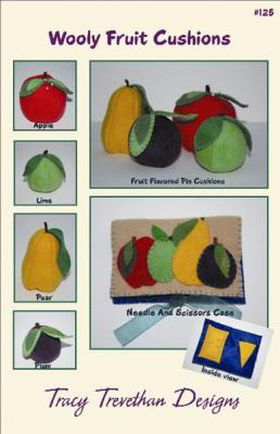 pear, plum, apple, lime pin cushions.